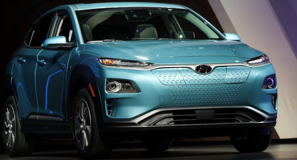The 2019 Hyundai Kona Electric is unveiled at the New York International Auto Show, March 28, 2018 at the Jacob K. Javits Convention Center in New York City.