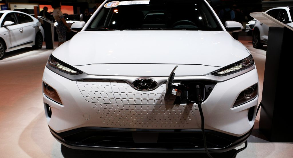 Hyundai Kona Electric is on display at the 112th Annual Chicago Auto Show at McCormick Place in Chicago, Illinois on February 7, 2020.