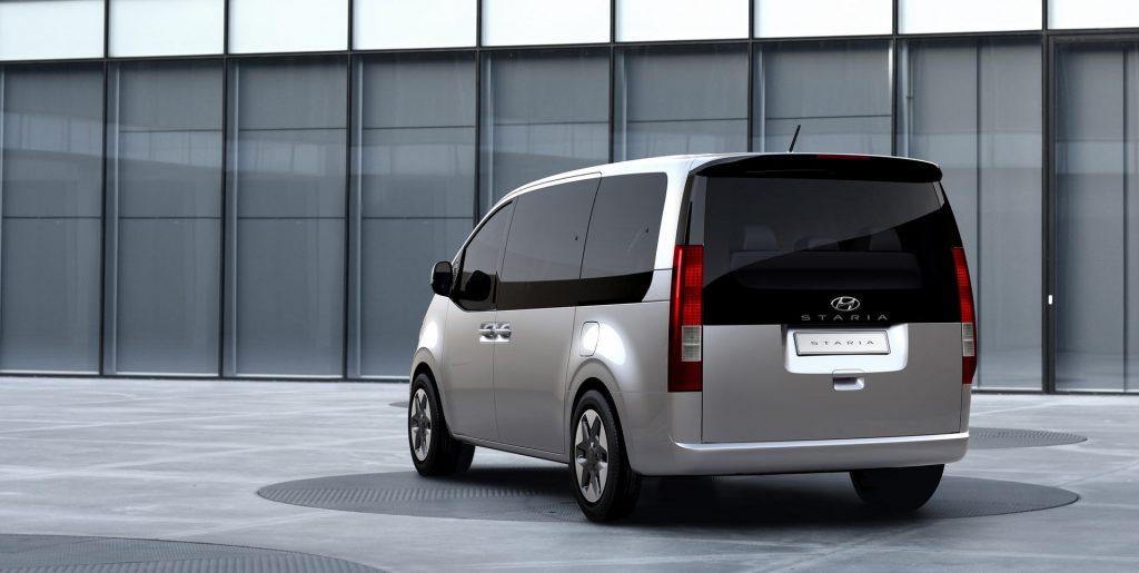 2022 Hyundai Staria minivan rear 3/4 view