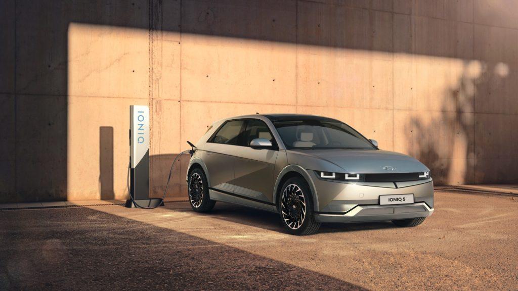 A 2022 Hyundai Ioniq 5 at a charging station