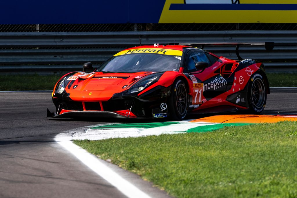 This is Inception Racing's #71 Ferrari at an endurance racing event like the 24 Hours of Le Mans where this Ferrari lost a wheel at Le Mans 2021. Photo by Ferrari
