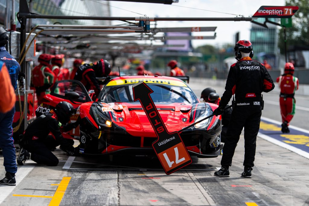 This is Inception Racing's #71 Ferrari pitting at an endurance racing event like the 24 Hours of Le Mans where this Ferrari lost a wheel at Le Mans 2021. Photo by Ferrari