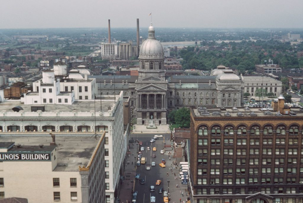 A picture of Indiana's State building and highways.