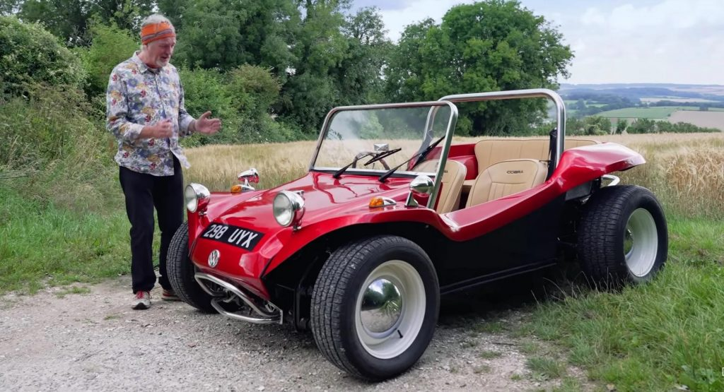James May of Top Gear and Grand Tour fame, standing with his replica Meyers Manx Buggy
