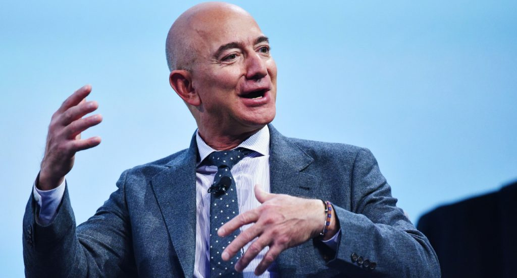 Jeff Bezos speaks after receiving the 2019 International Astronautical Federation.
