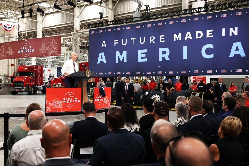 Joe Biden at the Mack Truck Lehigh Valley Operations factory in Macungie, Pennsylvania