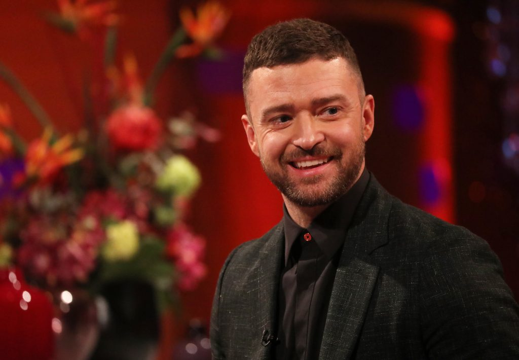 Justin Timberlake during the filming for the Graham Norton Show at BBC Studioworks 6 Television Centre, Wood Lane, London, to be aired on BBC One on Friday evening.