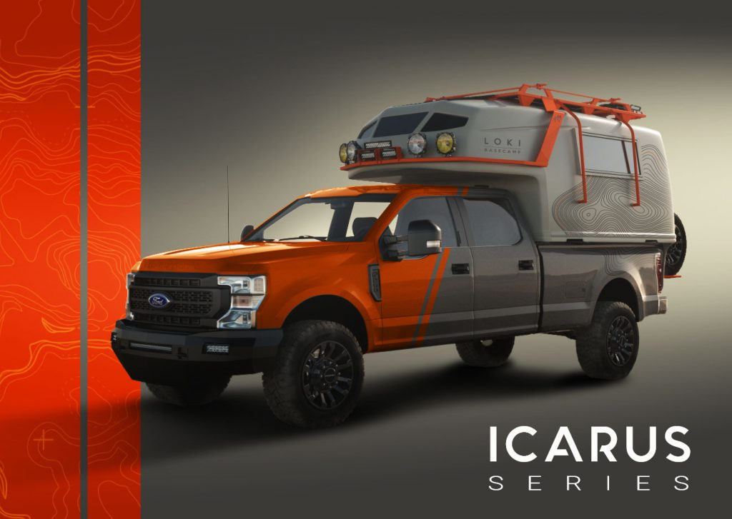 The front of the Icarus camper, mounted on a Ford F-series truck, with roof rack and lightbar