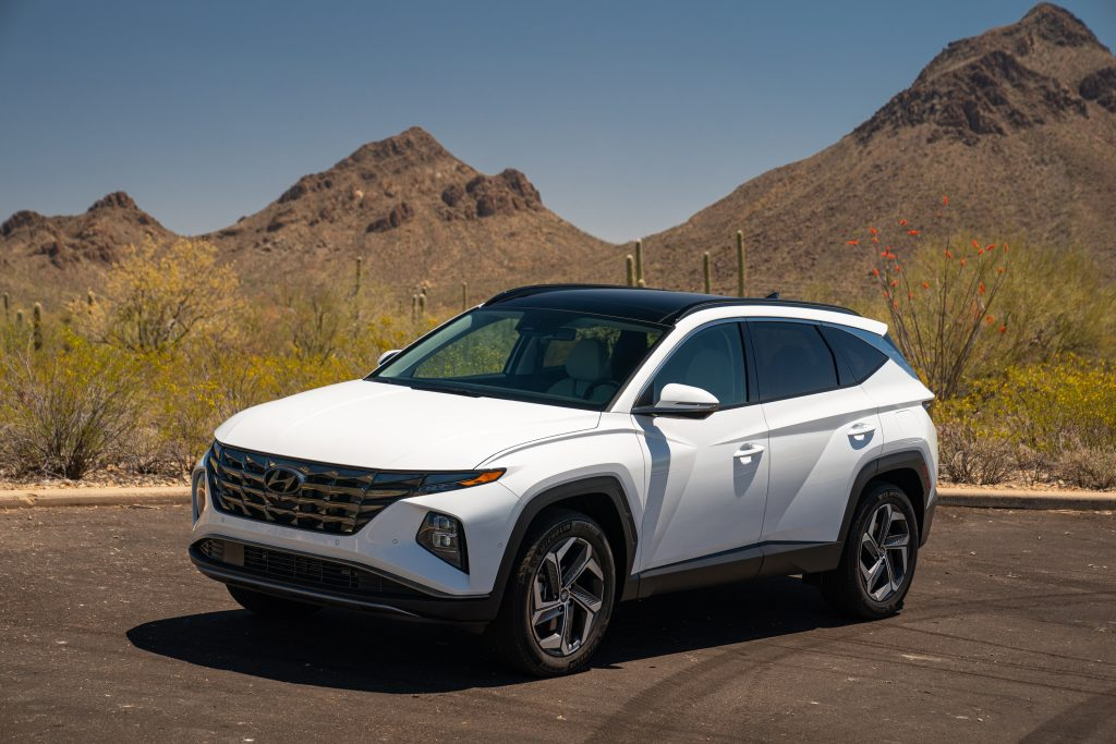 A white Hyundai Tucson EV in, well, Tucson