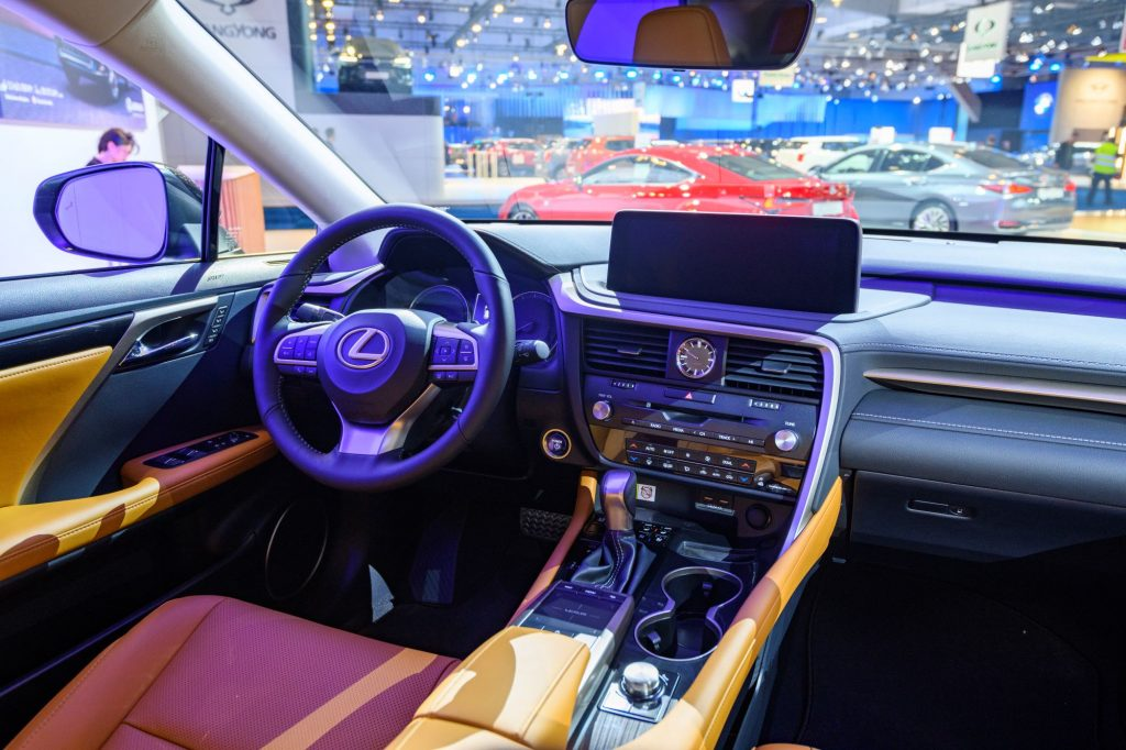 The luxury interior of a Lexus RX 450h SUV model