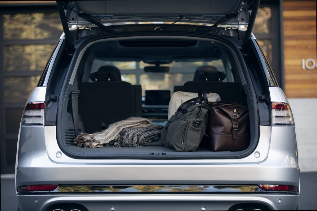 The cargo area of the Lincoln Aviator, one of the best luxury midsize SUVs with the most cargo room