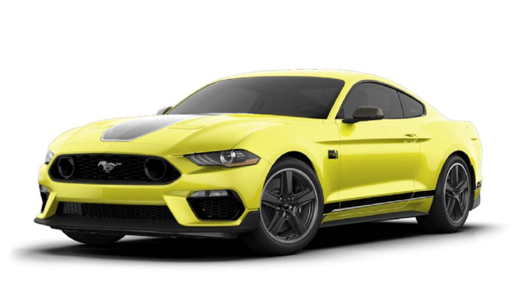 A yellow 2021 Ford Mustang Mach-e against a white background.