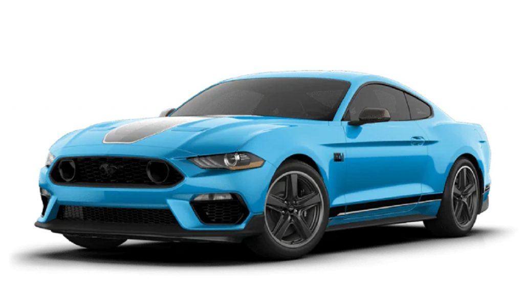 A blue 2021 Ford Mustang Mach-E against a white background.