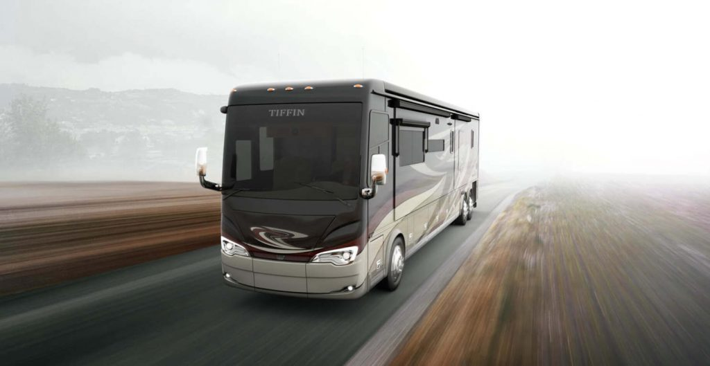 Tiffin Motorhomes, Inc. Alegro Bus diesel motorhome driving at speed on the open road