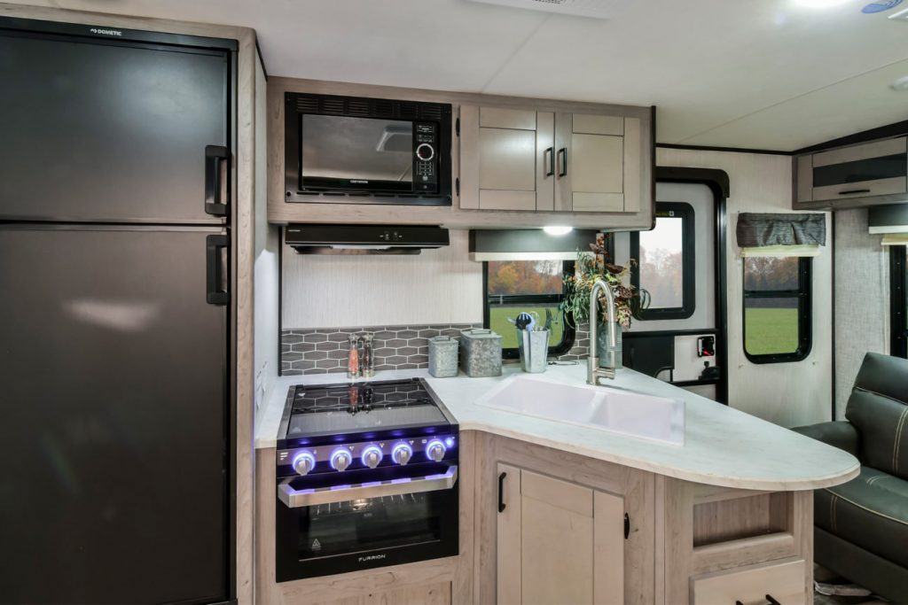 the refrigerator of a Mallard travel trailer