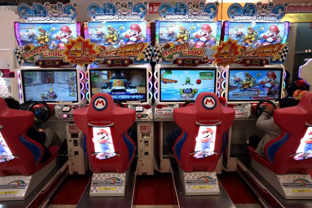Mario Kart arcade stations at a game center in Tokyo, Japan