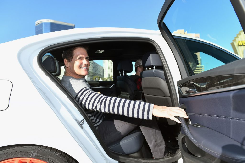 Businessman Mark Cuban rides in a Lyft and Aptiv self-driving car on January 10, 2018, in Las Vegas, Nevada