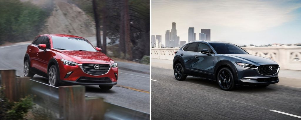 The Mazda CX-3 in red and the Mazda CX-30 in gray