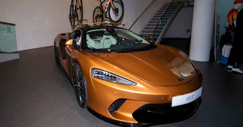 A yellow 2020 McLaren GT.