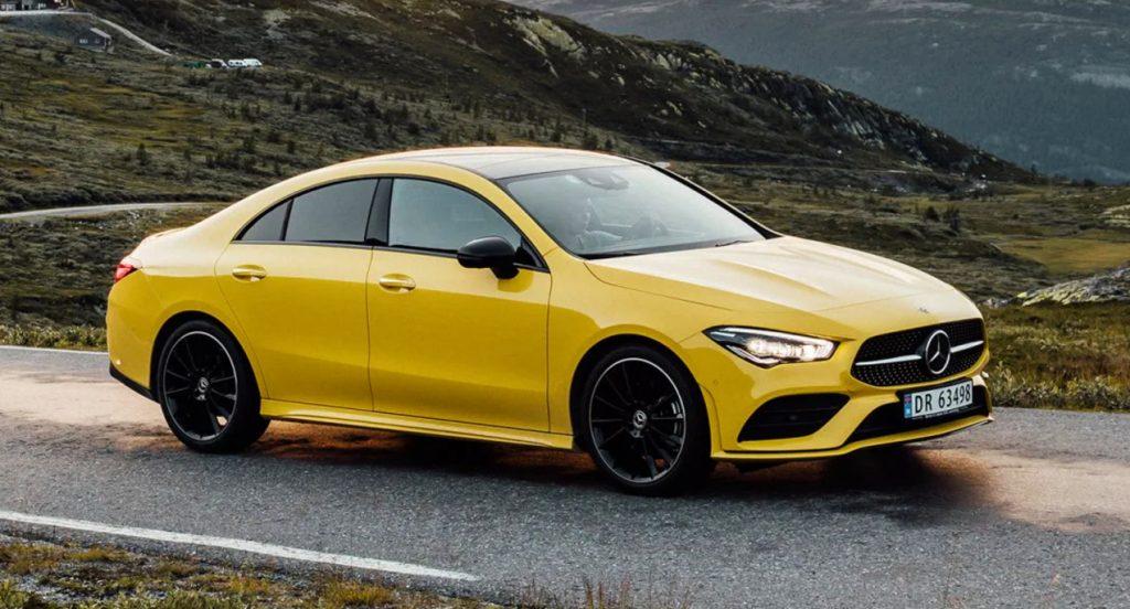 A yellow Mercedes-Benz CLA 200 new vehicle.