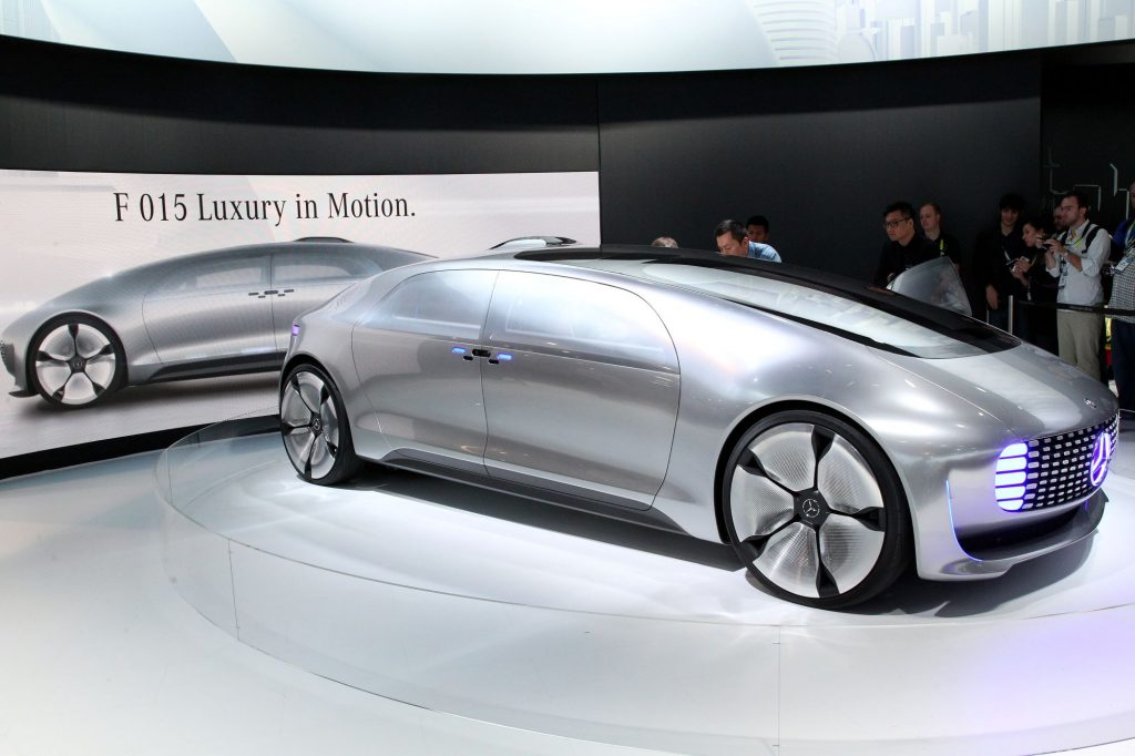 The Mercedes-Benz F 015 Luxury in Motion electric concept car at the 2015 International Consumer Electronics Show