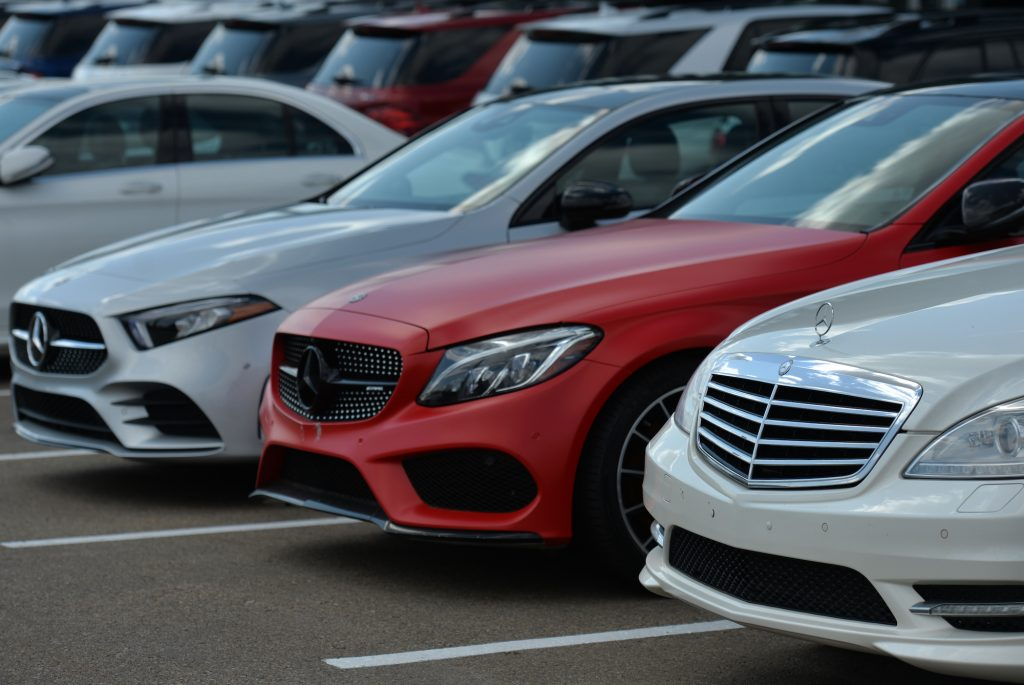 New Mercedes-Benz cars parked outside a dealership in August 2021 in Edmonton, Alberta, Canada