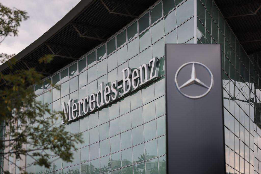 A Mercedes-Benz car dealership on July 22, 2021, in Berlin, Germany