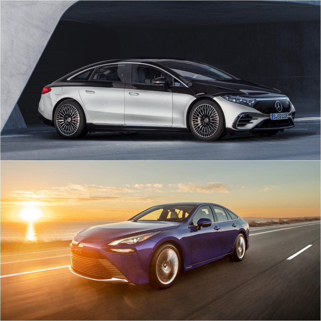 Mercedes EQS electric car and Toyota Mirai hydrogen fuel cell car