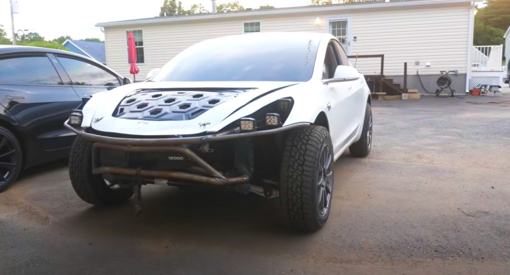 A modified Tesla Model 3.