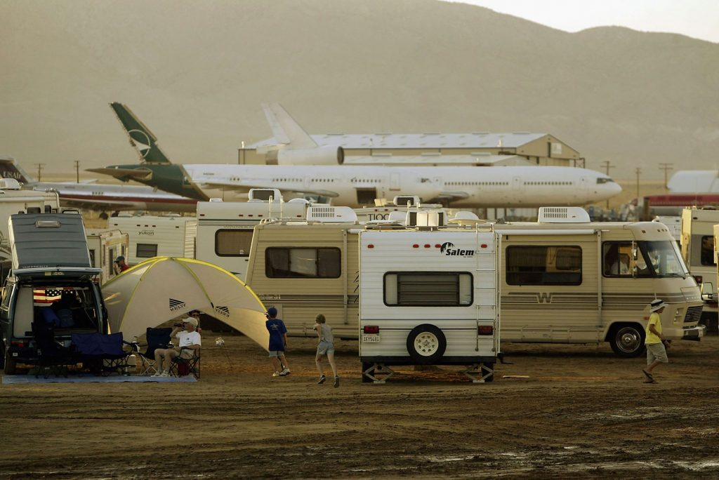 The Mojave Airport filled with airliners, planes, and RV campers in Mojave, California