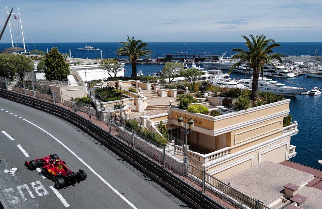 A Ferrari F1 car drives on the Circuit de Monaco race track