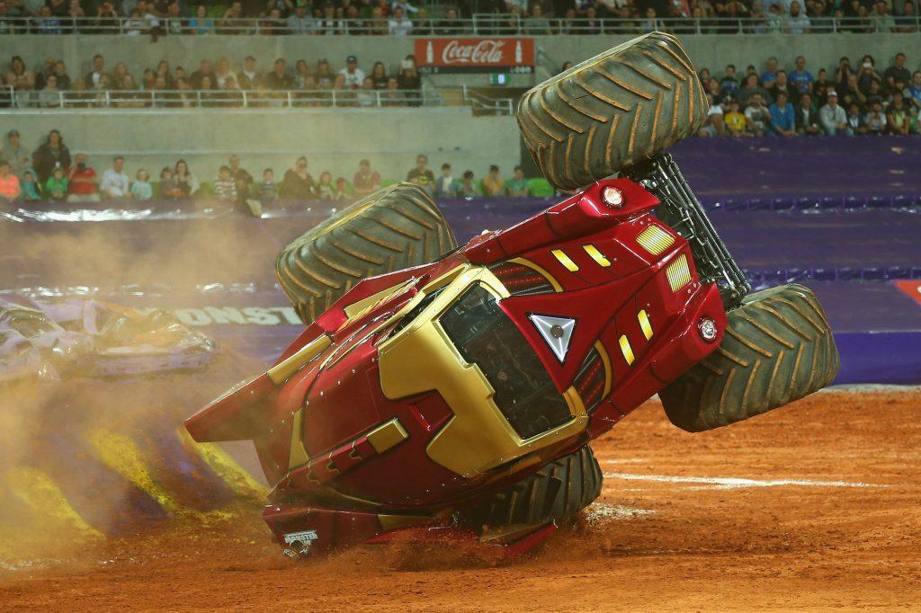The monster truck Iron Man crashes during Monster Jam on October 4, 2014, in Melbourne, Australia