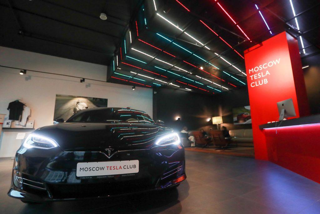 Tesla Model S electric car at Moscow Tesla Club