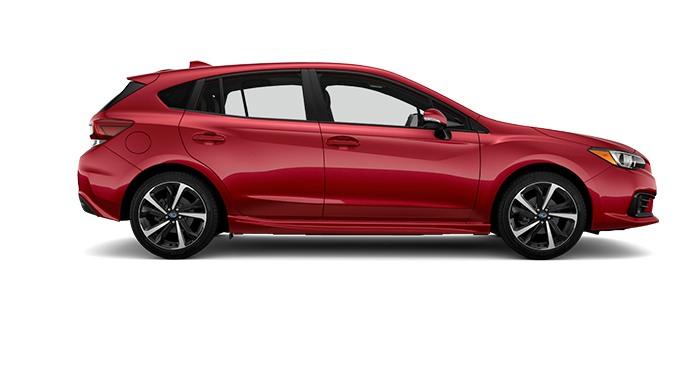 A red 2022 Subaru Impreza against a white background.