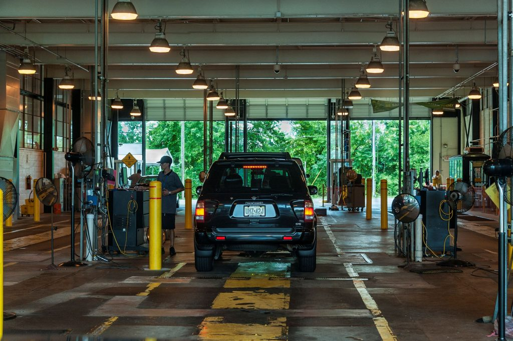 A New Jersey state auto inspection station where rebuilt titles can be issued
