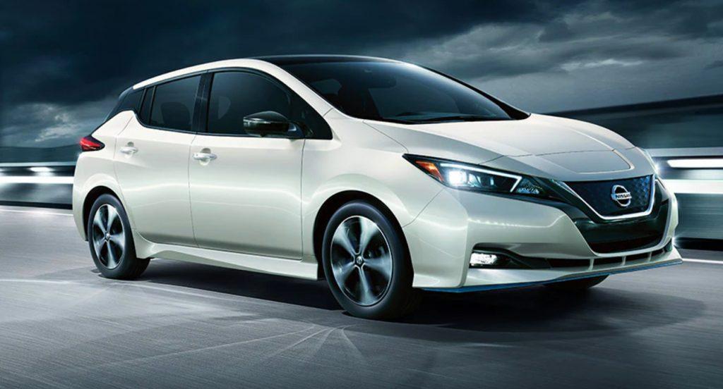 A white Nissan Leaf.