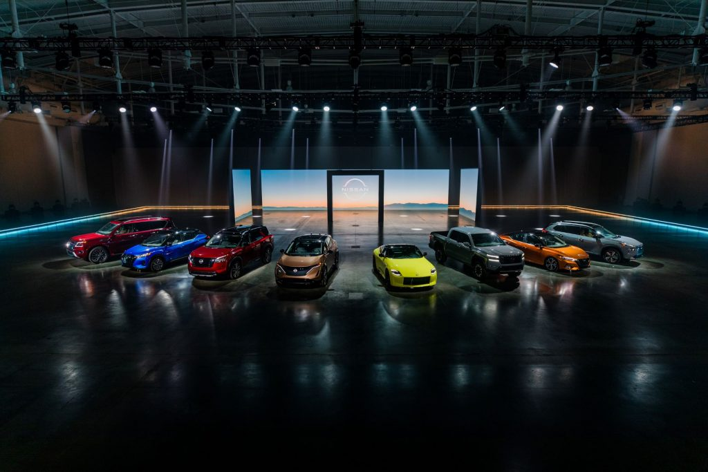The Nissan 'A to Z' lineup of vehicles at the 2021 Chicago Auto Show