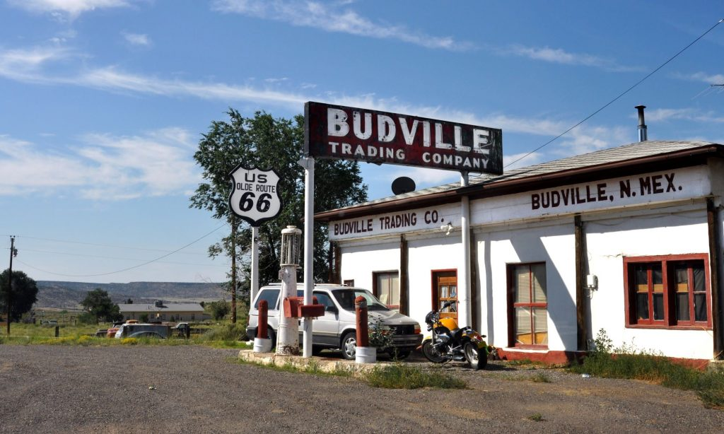 An old Budville Trading Company gas station in Budville, New Mexico