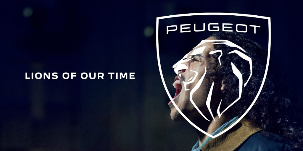 Peugeot's new logo of a lion's head over the face of a man roaring like a lion.