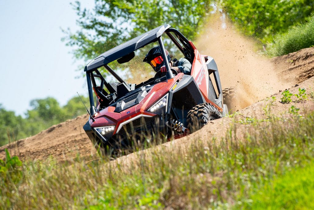 2022 Polaris RZR Pro XP Review getting flung around a corner in a cloud of dust