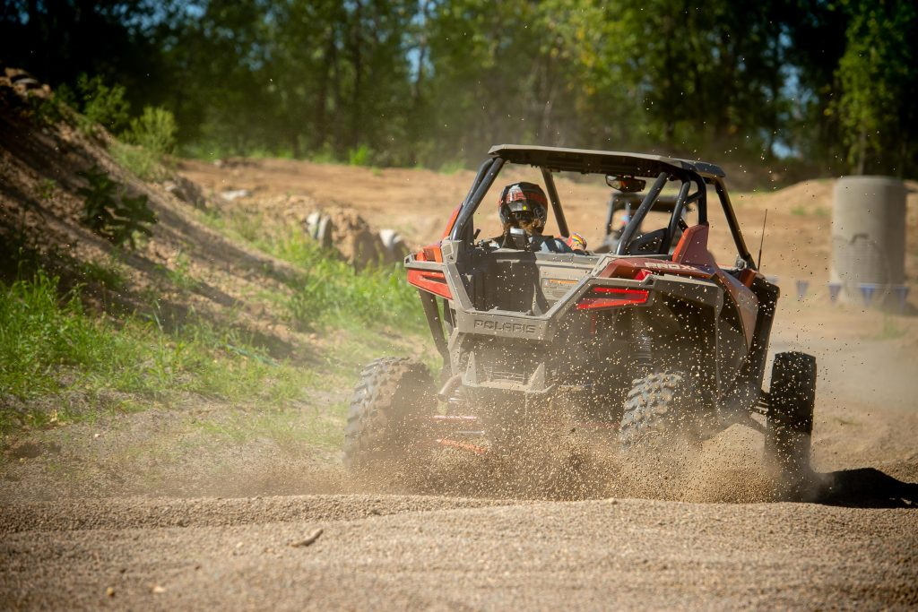 Polaris RZR Pro XP taking off from behind