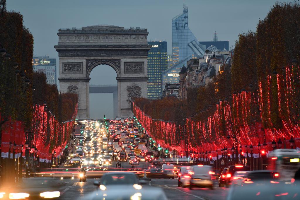 Paris traffic on Champs Elysses