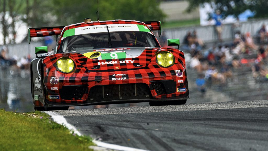 The #9 Porsche 911 GT3 R of Pfaff Racing at Road America in 2021.