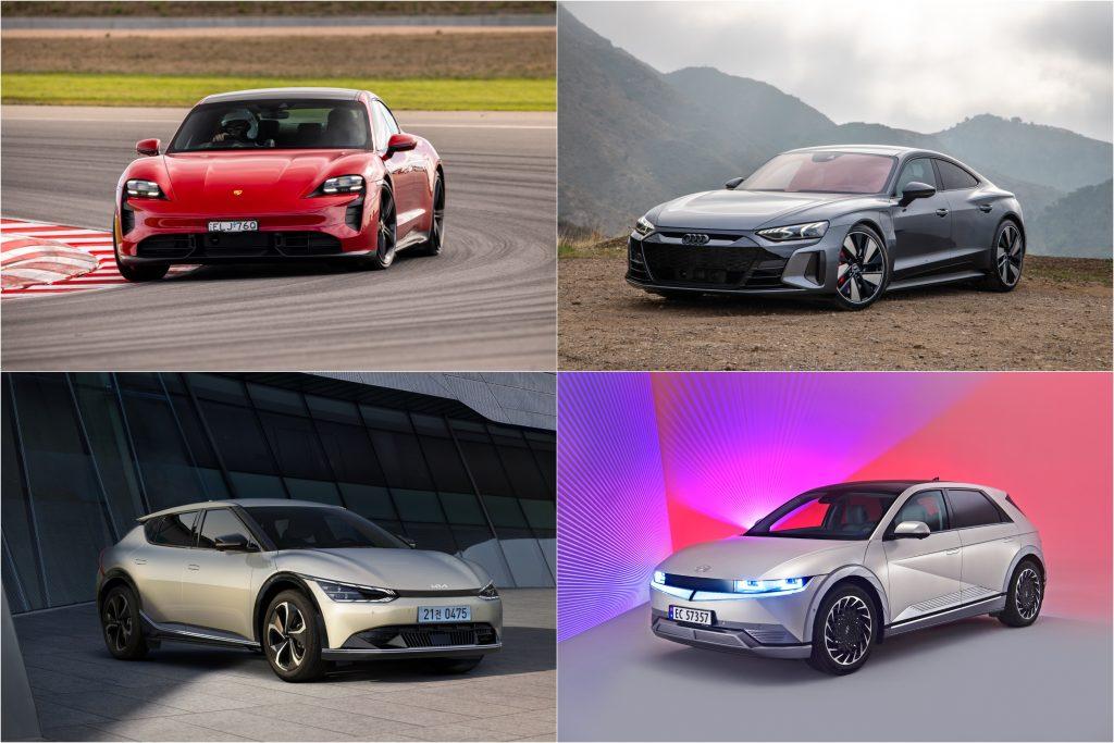 Electric cars Porsche Taycan, Audi RS E-Tron, Kia EV6 and Hyundai Ioniq 5