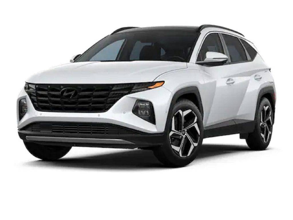 A white 2021 Hyundai Tucson against a white background.