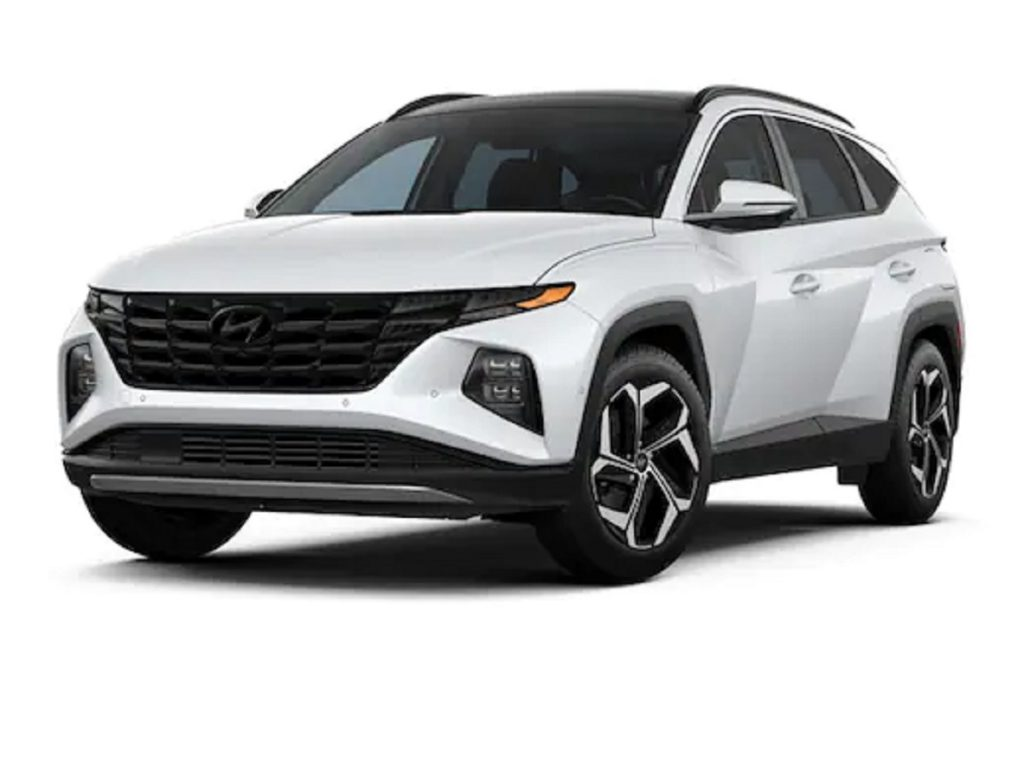 A white 2022 Hyundai Tucson against a white background.