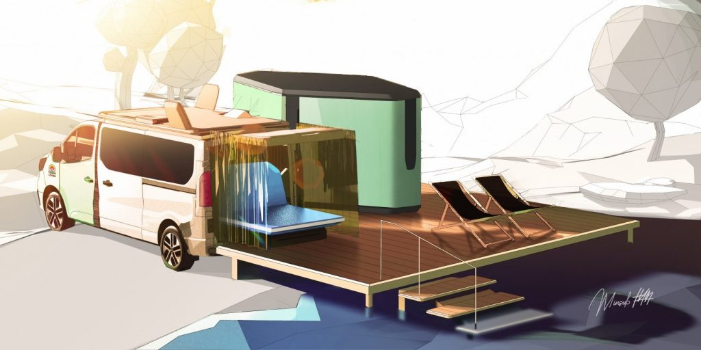 image of the full build out of the camper van decking that transforms any place into a campsite.