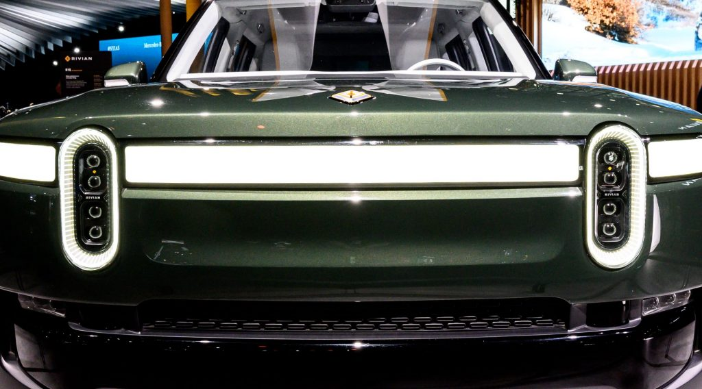 Front grille of a green Rivian R1S