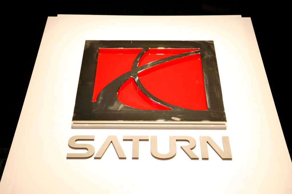 A Saturn logo sign at the Chicago Auto Show