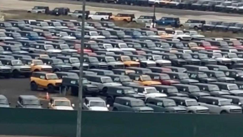 Hundreds of 2021 Ford Bronco models in storage